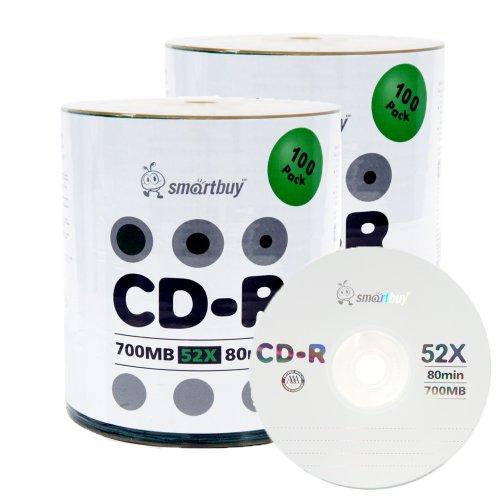 Smartbuy 200-disc 700mb/80min 52x CD-R Logo Top Blank Data Recordable Media Disc