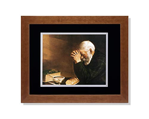 Art Prints Inc Daily Bread Man Praying at Table Grace Religious B/W Matted Picture Honey Framed