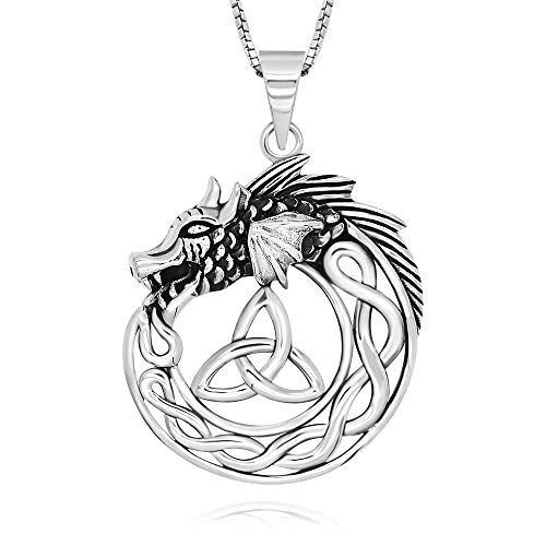 925 Sterling Silver Oxidized Celtic Knot Ouroboros Dragon Symbol of infinity Pendant Necklace, 18'