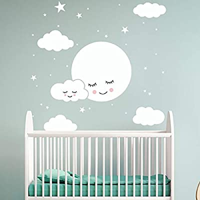 Smiling Moon Stars Clouds Wall Decals Peel and Stick Stickers Art Mural Decor for Home Dorm Party Nursery