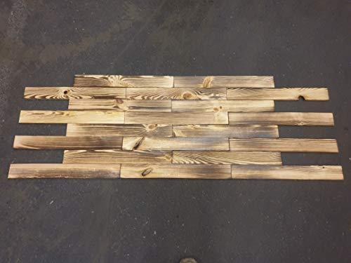 10 Stück Neue geflammte Holz-bretter- Deko-Bastel-Holz aus Nadelholz Schnittholz Holzbretter Kistenbretter (50 x 6,5cm)