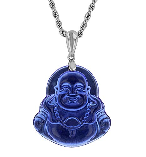 Smiling Laughing Buddha Blue Jade Pendant Necklace Square Silver Box Rolo Chain Genuine Certified Grade A Jadeite Jade Hand Crafted, Jade Necklace, 14k Gold Filled Buddha necklace, Jade Medallion…