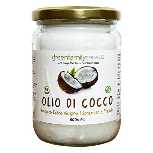 Olio di Cocco Biologico Extra Vergine 500 ml Crudo e Spremuto a Freddo | 100% Organico e Naturale Bio | Non Raffinato | Green Family Service