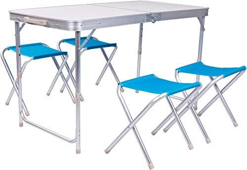Relaxbx opklapbare campingtafel set met 4 stoelen, lichtgewicht MDF eettafel voor buiten wandelen picknick