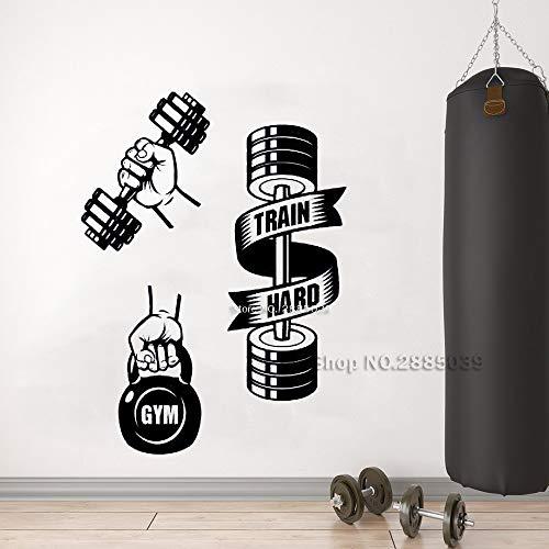 Ajcwhml Selbstklebende Fitnessgeräte trainieren Harte Gewichte Wandtattoos Gymnastikübungen Wandsticker inspirierend Gymnastikposter 42cm x 57cm
