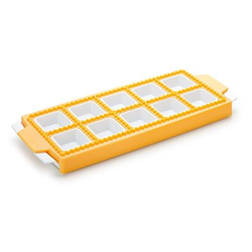 Tescoma Delicia 630877 Stampo per Raviolini Quadrati, Plastica, 10 Pezzi, 1 Pezzo, Giallo