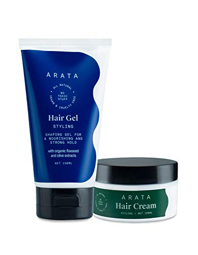 Arata Natural Curl defining Hair Styling Combo with Hair Gel & Hair Cream for Men & Women || All Natural,Vegan & Cruelty Free || For Nourishing,Styling & Strong Hold (250 ml)