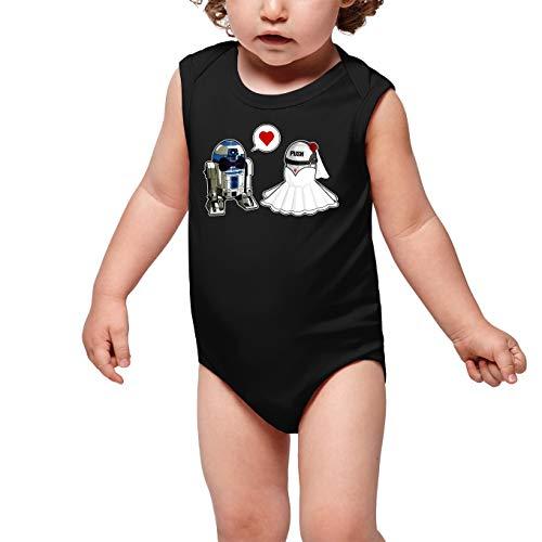 Star Wars Lustiges Schwarz ärmelloser Baby Strampler - R2-D2 (Star Wars Parodie) (Ref:468)
