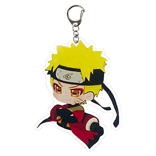 Iwinna 1 Pc Naruto Keychain Sasuke/Itachi/Kakashi Double Sided Acrylic Key Chain Pendant Anime Accessories Cartoon Key Ring(Multicolor-style6)