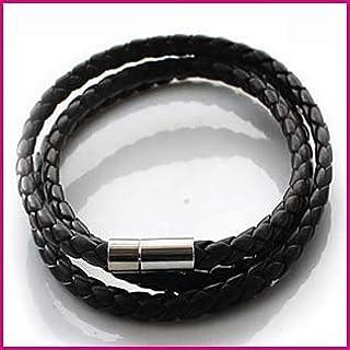 اساور حلقية واساور جلدية يدوية الصنع ومنسوجة حول خيط دائري ومشبك للنساء والرجال بلون اسود