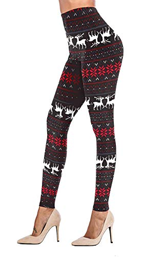 Womens Christmas Leggings Tights Brushed Reindeer Snowflake Printed Black Plus Size
