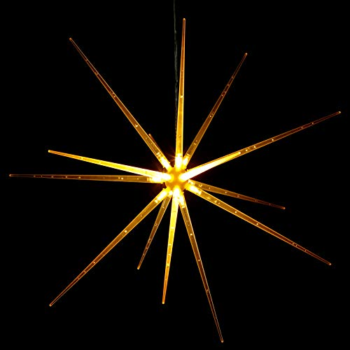 TORCHSTAR 14 LED Hanging Starburst Lights, Firework Fairy String Lights, 8 Modes Optional Dandelion Copper Wire Lights, Battery Operated, Warm White, for Party, Home, Window
