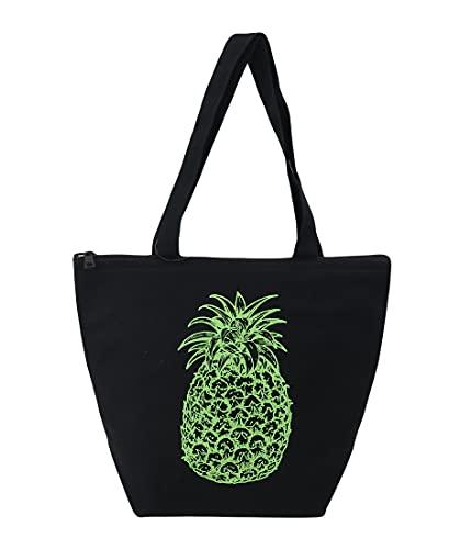 ハワイアン 保温保冷バッグ トートバッグ ハワイ バッグ パイナップル maka hou ハワイアン雑貨 ハワイ (ブラック)