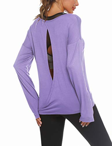 Zeagoo Women's Long Sleeve Open Back Shirts Loose Backless Workout Gym Exercise Athletic Yoga Tops Blouse S-XXL (A-Light Purple, S)
