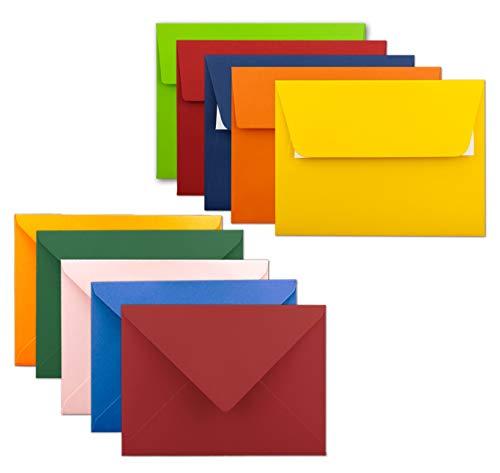 50x farbige Brief-Umschläge gemischt - DIN C6-114 x 162 mm - Bunte Mischung - Haftklebung/Nassklebung - Mit und Ohne Futter - Gustav NEUSER®