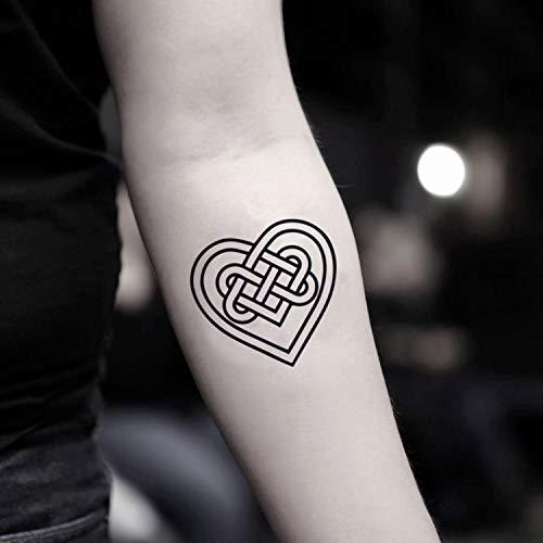 Celtic Heart Temporary Fake Tattoo Sticker (Set of 2) - www.ohmytat.com