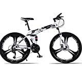 BNMKL 26 Pulgadas Bicicleta Plegable, Bicicleta De Montaña Doble Absorción De Impactos, 21/24/27 Velocidad Bicicleta De Carretera para Adolescentes Adultos,Negro,26 Inch 24 Speed