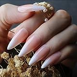 Yokilly 120pcs French Nail Long Press on False Acrylic Nails Ballerina Glossy Full Cover Fake Nail Tips with Nail...