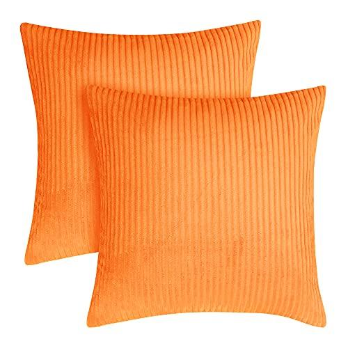 Amazon Brand - Umi Funda de Cojin Decoracion para Salon Suave 2 Piezas 55x55cm Naranja