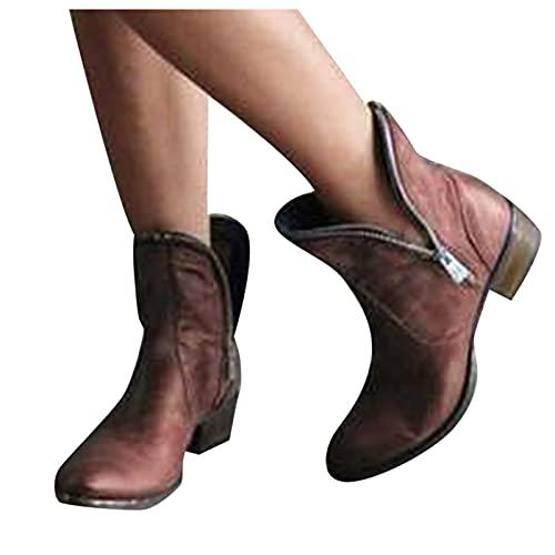 Dasongff Botines cortos para mujer con tacón de motero, botas de combate, vintage, retro, para el tiempo libre, estilo chelsea