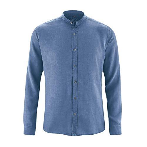 HempAge Herren Hemd aus reinem Hanf, Blueberry, Gr. M