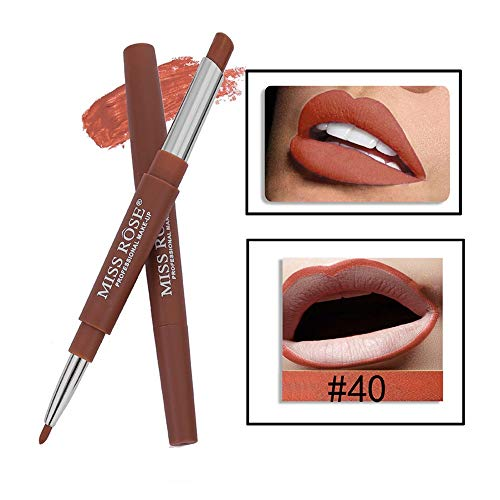 Tonsee MISS ROSE Sexy Métallique Lip Gloss Fashion Rouge à lèvres Double-end Lasting Lipliner Waterproof Lip Liner Stick Pencil 20 Color (40#)