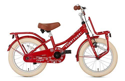 POPAL SuperSuper Cooper Kinder Fahrrad für Kinder | Mädchen Fahrrad 16 Zoll ab 4-6 Jahre| Kinderrad met Stützrädern | Rot
