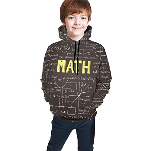 Vbcdgfg Kids Hoodies for Boys Girls Math Equations Classroom Dark Blackboard Youth Sweatshirt Graphic Pullover Clothes