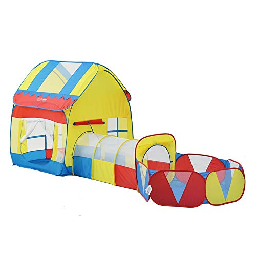 Tiendas infantiles La tienda del juego de los niños con el túnel, 3-en-1 Pop-up puerta plegable al aire libre de los niños Playhouse, con Ball Pool regalos de los muchachos de las muchachas de Año Nue