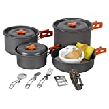 REDCAMP 23 PCS Camping Cookware Set for Family, Compact & Folding Backpacking Cookset for 4-5...
