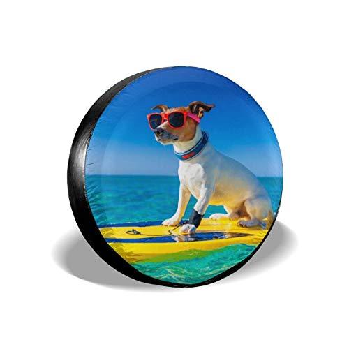 jingqi Perro Surfeando En Tabla De Surf,Cubierta De Neumático Bolsa,Fundas De Neumáticos De Repuesto,Cubierta De La Llanta,Funda Cubre Rueda De Recambio 17In