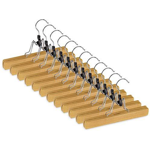 bomoe set di 12 grucce per pantaloni - beige - appendiabiti per pantaloni da uomo in legno certificato FSC® girevole a 360° con rivestimento antiscivolo in feltro - Ole