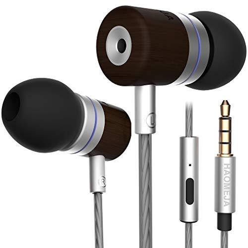 HAOMEJA Music Headphones Earphones Earbuds Head Phone in-Ear Headphones HD Sound Boom Audio Earphones Cool Earbuds Good Sound Premium Wired Earphones mic with Microphone DJ Bass (Silver Black Wood)