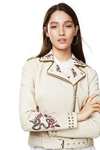 Desigual Damen modische Lederimitat Jacke Mika mit Stickerei Cremefarben 42