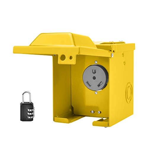 RVGUARD 30 Amp 125 Volt RV Power Outlet Box, Enclosed Lockable Weatherproof Outdoor Electrical NEMA TT-30R Receptacle Panel, Yellow, ETL Listed