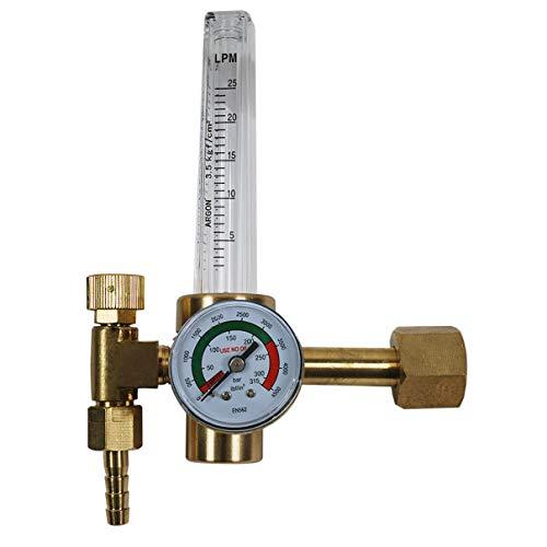 HELO '173518' Druckminderer mit Flowmeter für Argon (und andere Edelgase), Schutzgas und CO2 Flaschen, Eingangsdruck 200 bar mit Flowmeter 0-30 L/Min, Arbeitsdruck ca. 10 bar.