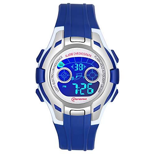 Reloj Digital para Niños Niñas, Reloj Infantil Deportivo 7 Colores Luz LED Multifuncional Impermeable 30 M Relojes de Pulsera para Exteriores con Alarma para Niños de 4 a 15 años. (Azul Oscuro-1)