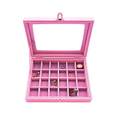 Aokali Caja de almacenamiento de cosméticos para pendientes, anillo y collar, simple y hermosa, creativa, portátil, a prueba de polvo, caja de almacenamiento de joyas