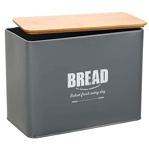 Extra Large Space Saving Vertical Bread Box With Eco Bamboo Cutting Board Lid-Holds 2 Loaves-Extra Large Farmhouse Breadbox Bread Holder -Gray