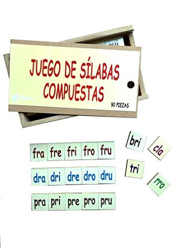 DIDACTICOS IMPREHISPANICA Silabas Compuestas Material Lectoescritura de Madera, Material Didáctico para Niños, Montessori Preescolar, Caja Educativa, 90 Piezas