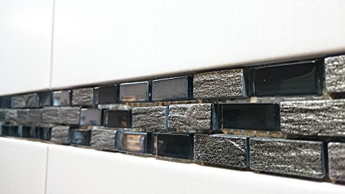 Bordüren Glasmosaik mit Marmor schwarz silber 4x30cm MOSAKO Fliesen