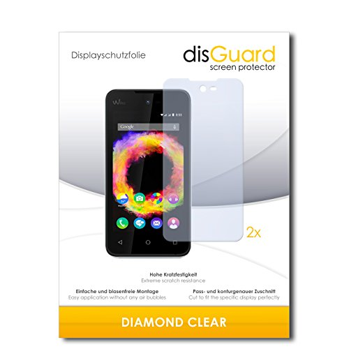 disGuard 2 x Bildschirmschutzfolie Wiko Sunset 2 Schutzfolie Folie DiamondClear unsichtbar