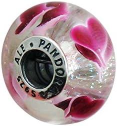 Pandora 791649Abalorio de cristal de Murano con diseño de corazones salvajes