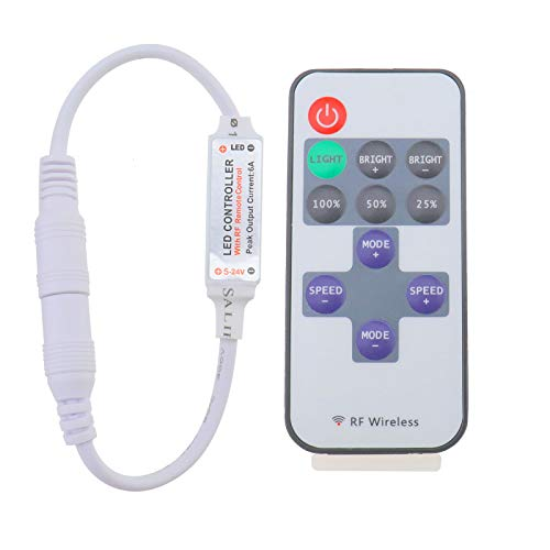 OTOTEC Control remoto inalámbrico de RF para tira de luz de un solo color LED DC 12V 12A Mini interruptor de atenuación en línea