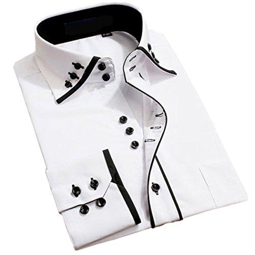 Lyon Becker® Lässiges Herrenhemd, moderner Kragen, schlanke Passform, italienisches Design, langärmelig, DC04 Gr. L, weiß