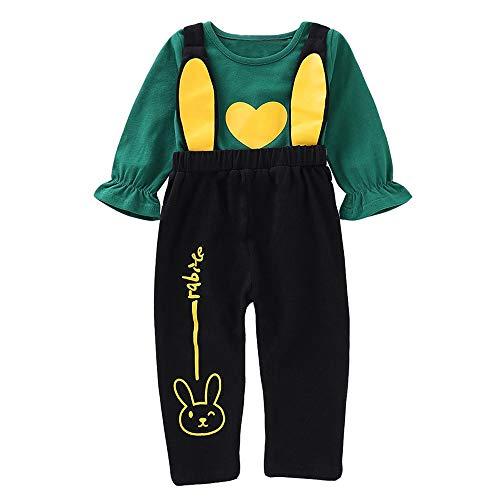 Huihong Kleinkind Baby Mädchen Herz Print Tops Shirt + Cartoon Hasen Ohren Hose Niedliche Kleidung Set (Grün, 2-3 Jahre/110)