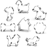 Dog Themed Cookie Cutter Set - Including Dog Bone, Paw Print, Puppy and Dog House cookie cutters shapes- Stainless Steel Cookie Cutter molds(8 PACK)