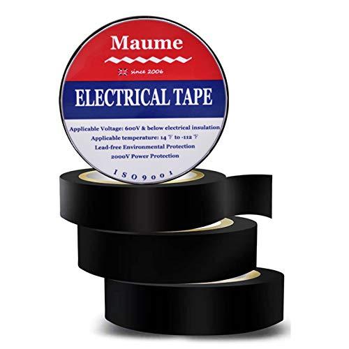 Isolierband Schwarz 4 Rollen Wasserdicht Electrical Tape Selbstverschweißend - 16mm x 9m Elektro Breit Iso Tape Hohe Temperaturbeständigkeit Flammhemmend