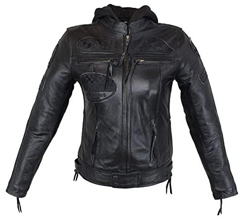 EURO STARS Damen Biker Lederjacke Schwarz mit Kapuze und Protektoren, Damen Motorradjacke, Damen Bikerjacke, Damen Lederjacke, Damen Jacke (S, Black)