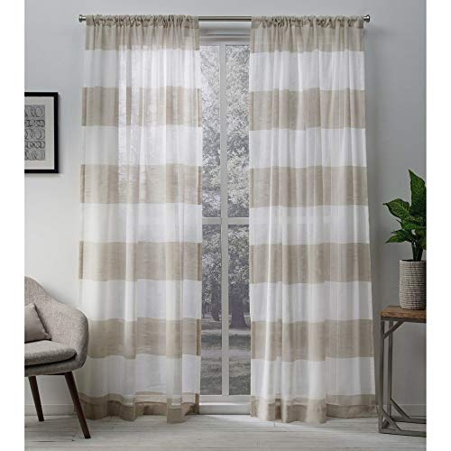 Exclusive Home Curtains Darma Sheer Linen Rod Pocket Curtain Panel Pair, 50x108, 2 Piece